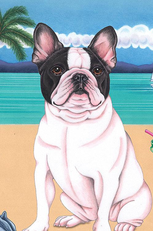 French Bulldog -Terry Velour Microfiber Beach Towel