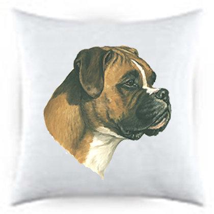 Boxer Uncropped Dog Portrait Satin Throw Pillow