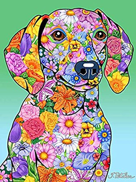 Dachshund -Flowers Design Garden Flag