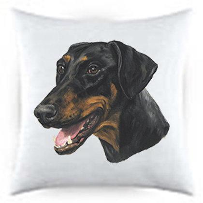 Doberman Black & Tan (uncropped) Dog Portrait Satin Throw Pillow
