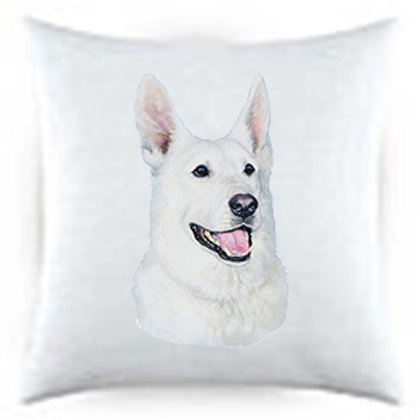 White German Sheperd Dog Portrait Satin Throw Pillow