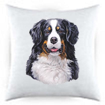 Bernese Mountain Dog Portrait Satin Throw Pillow