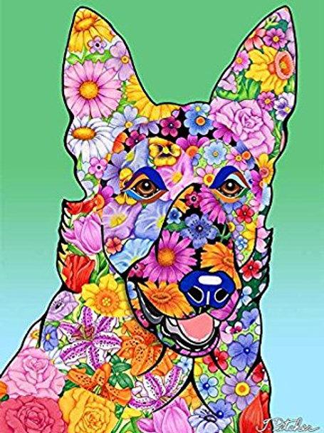 German Shepherd -Flowers Design Garden Flag