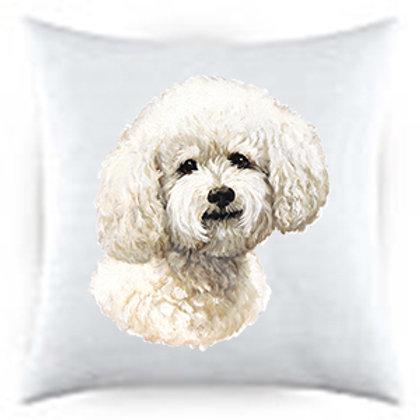Bichon Frise Dog Portrait Satin Throw Pillow