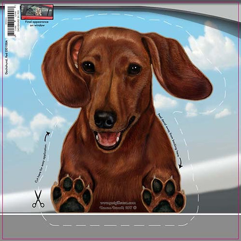 Dachshund (Red) - Dogs On The Move Window Decal