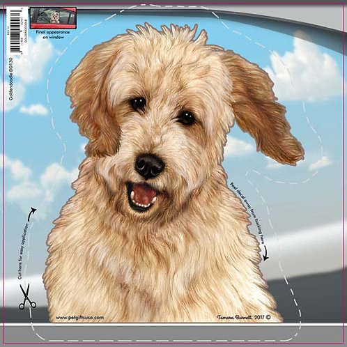 Goldendoodle - Dogs On The Move Window Decal
