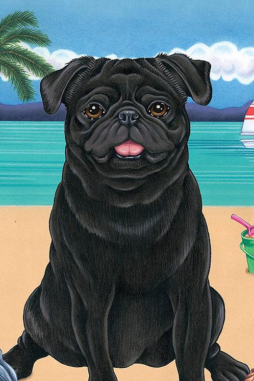 Pug Black -Terry Velour Microfiber Beach Towel