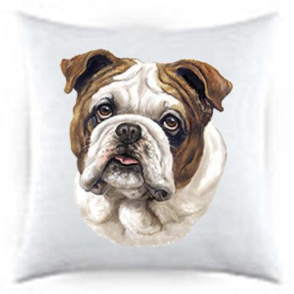 Bulldog Portrait Satin Throw Pillow