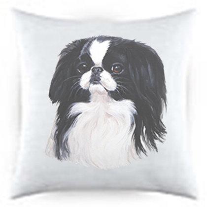 Japanese Chin Dog Portrait Satin Throw Pillow