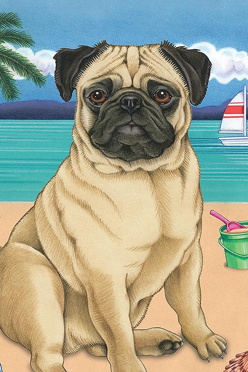 Pug Fawn -Terry Velour Microfiber Beach Towel