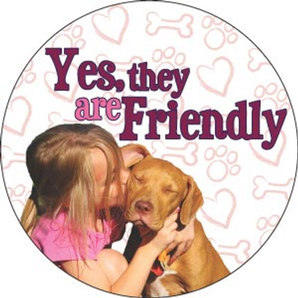 Pitbull - Yes, they are friendly Circle Magnet
