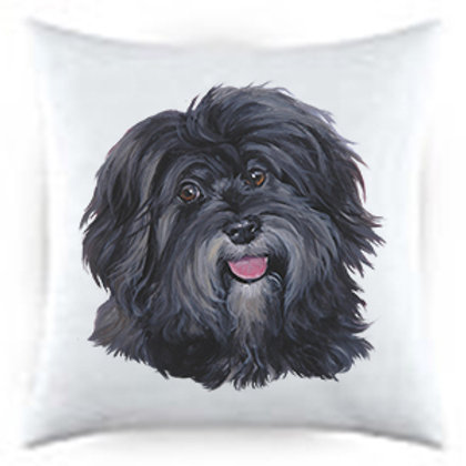 Havanese Dog Portrait Satin Throw Pillow