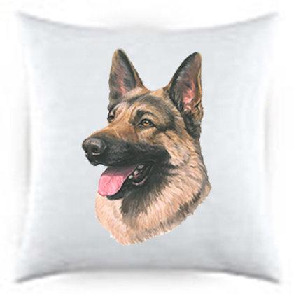 German Sheperd Dog Portrait Satin Throw Pillow