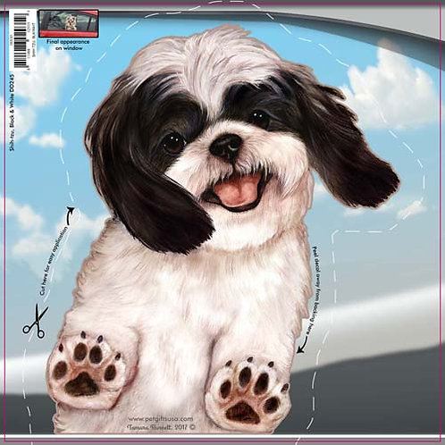 Shih Tzu (Black & White) - Dogs On The Move Window Decal