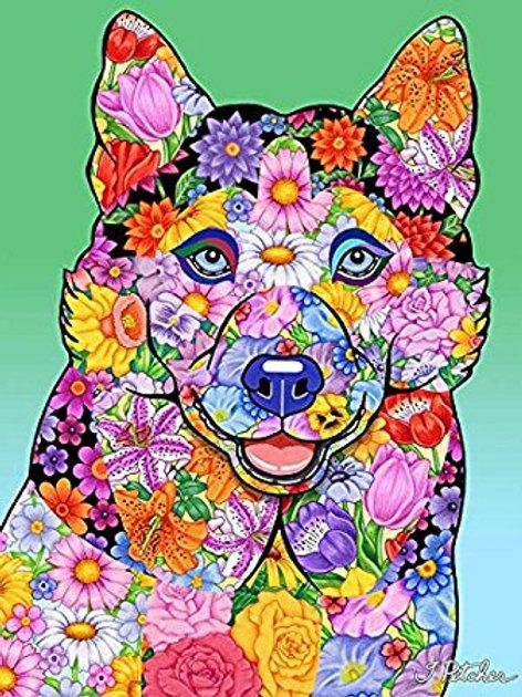 Siberian Husky -Flowers Design Garden Flag