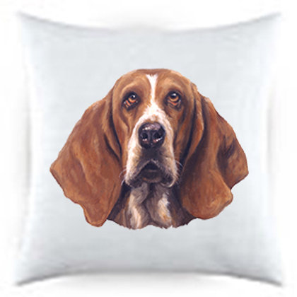 Basset Hound Dog Portrait Satin Throw Pillow
