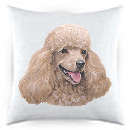 Cream Poodle Dog Portrait Satin Throw Pillow