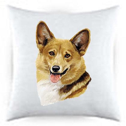 Corgi Dog Portrait Satin Throw Pillow