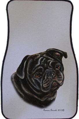Black Pug Best of Breed Car Mats (set of 2)
