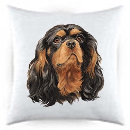 Cavalier King Charles Black & Tan Dog Portrait Satin Throw Pillow
