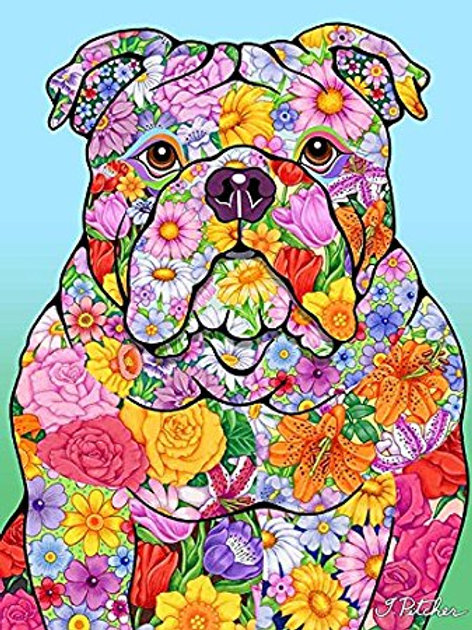Bulldog-Flowers Design Garden Flag