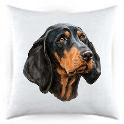 Black Tan Coon Hound Dog Portrait Satin Throw Pillow