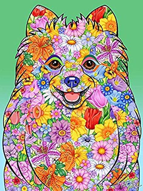Pomeranian-Flowers Design Garden Flag