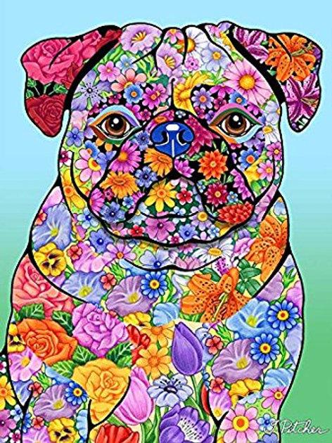 Pug-Flowers Design Garden Flag