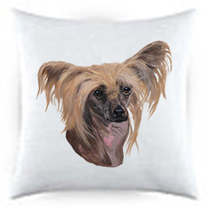 Chinese Crested Dog Portrait Satin Throw Pillow