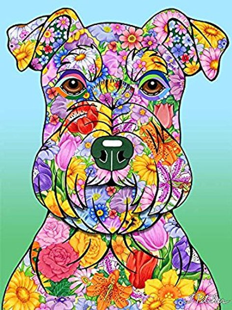 Schnauzer Uncropped -Flowers Design Garden Flag