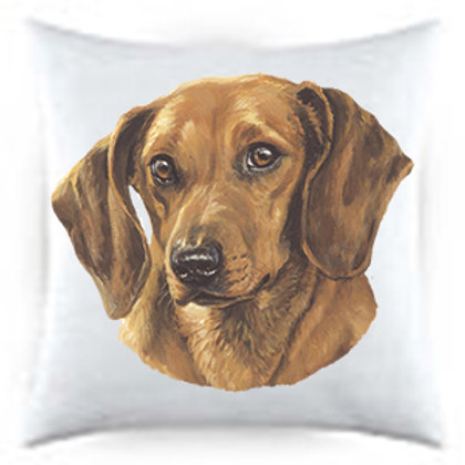 Red Dachshund Dog Portrait Satin Throw Pillow