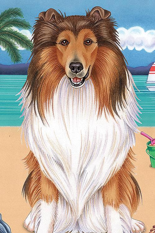 Collie -Terry Velour Microfiber Beach Towel