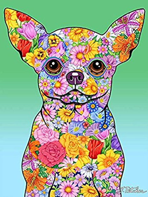 Chihuahua-Flowers Design Garden Flag
