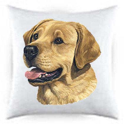 Yellow Lab Dog Portrait Satin Throw Pillow