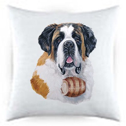 Saint Bernard Dog Portrait Satin Throw Pillow