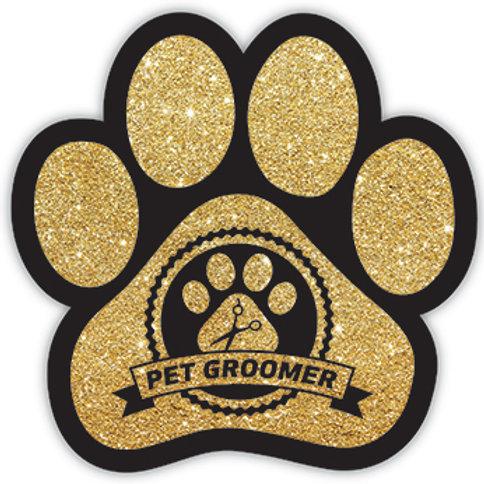 Pet Groomer Gold Glitter Magnet