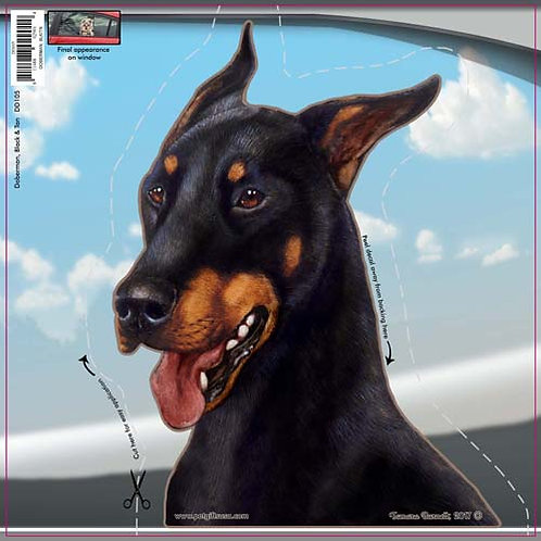Doberman - Dogs On The Move Window Decal