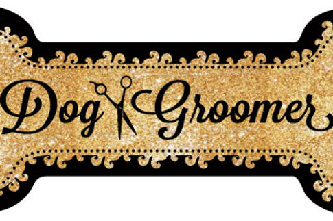 Dog Groomer Gold Bone Magnet