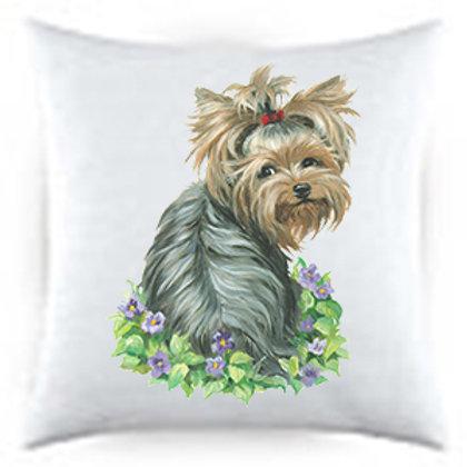 Yorkie with Flowers Dog Portrait Satin Throw Pillow
