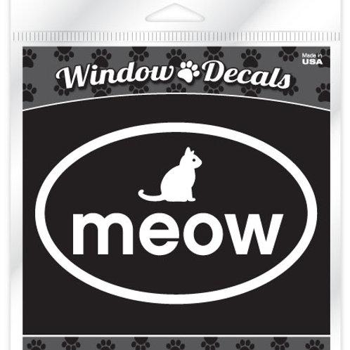 Meow •White vinyl sticker decal
