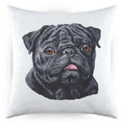 Black Pug Dog Portrait Satin Throw Pillow