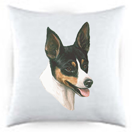 Rat Terrier Dog Portrait Satin Throw Pillow