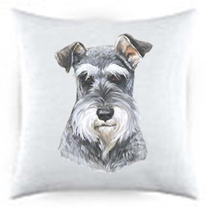 Schnauzer Uncropped Dog Portrait Satin Throw Pillow