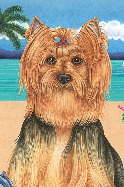 Yorkie Show Cut -Terry Velour Microfiber Beach Towel