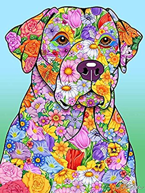 Yellow Labrador -Flowers Design Garden Flag