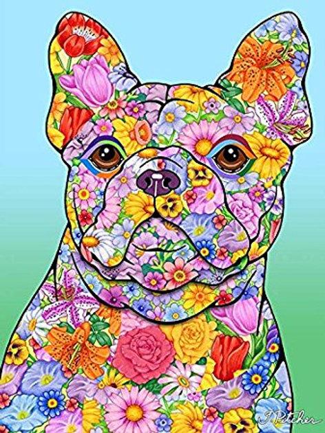 French Bulldog -Flowers Design Garden Flag