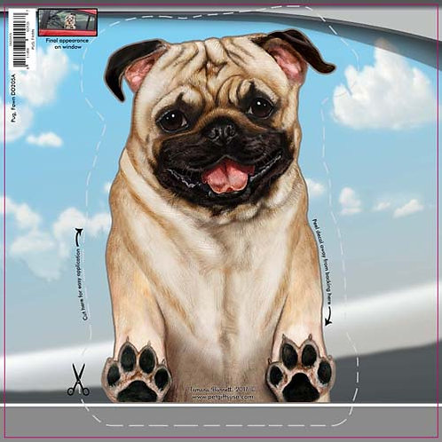 Pug (Fawn) - Dogs On The Move Window Decal