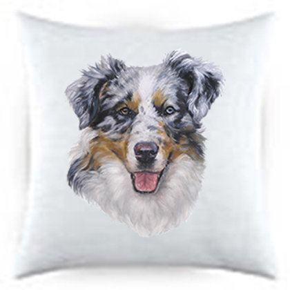 Australian Sheperd Blue Cattle Dog Portrait Satin Throw Pillow