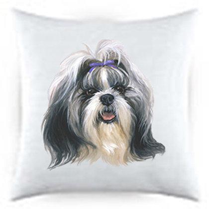 Shih Tzu Dog Portrait Satin Throw Pillow