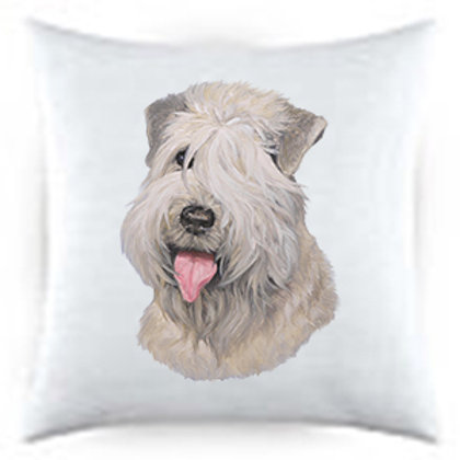 Soft-coated Wheaton Terrier Dog Portrait Satin Throw Pillow